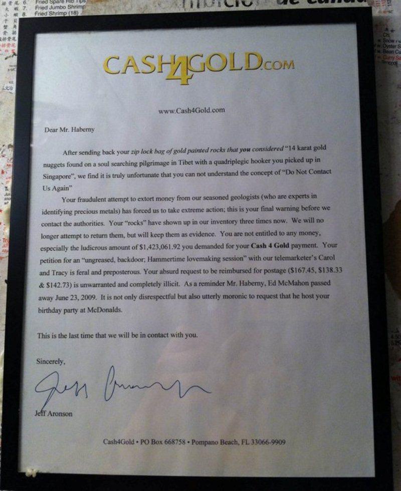 CashforGold.com Gets an attitude