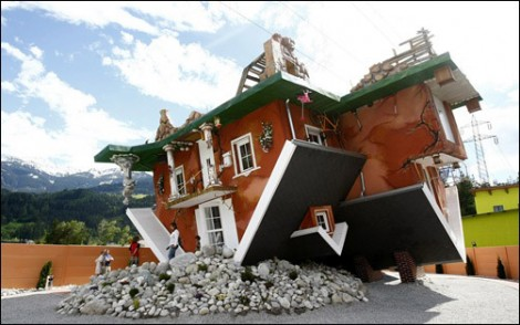 Upside down house in Austria, Germany